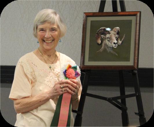 Rachel Watkins and her Best-of-Show winning work, The Big Horn Sheep (The Exemplary 2019)